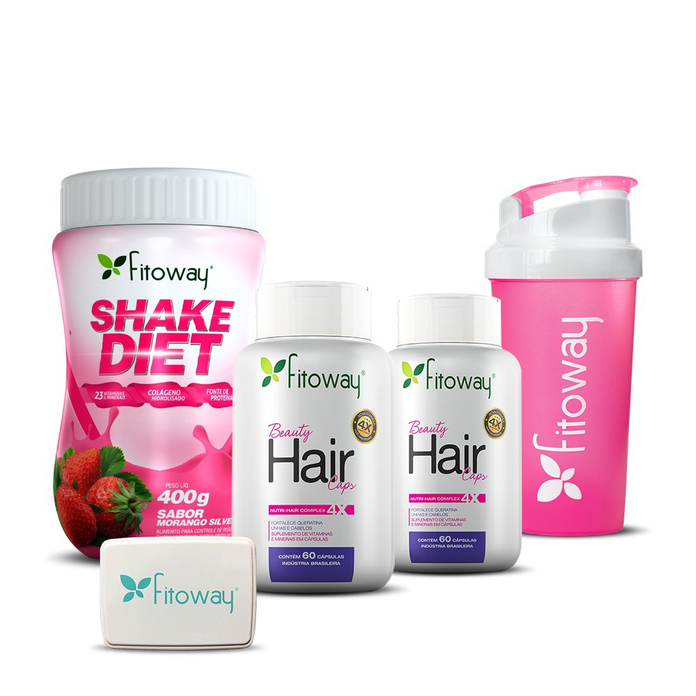 KIT 2x BEAUTY HAIR CAPS + SHAKE DIET - FITOWAY