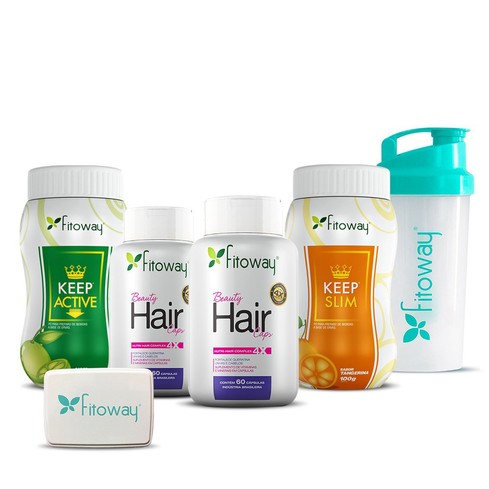 KIT 2X BEAUTY HAIR + KEEP SLIM + KEEP ACTIVE FITOWAY