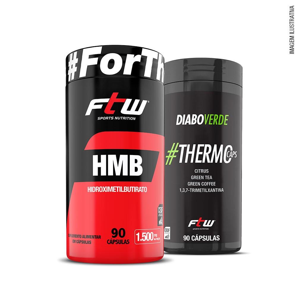 KIT HMB 90 cáps + Diabo Verde #Thermocaps 90 cáps - FTW