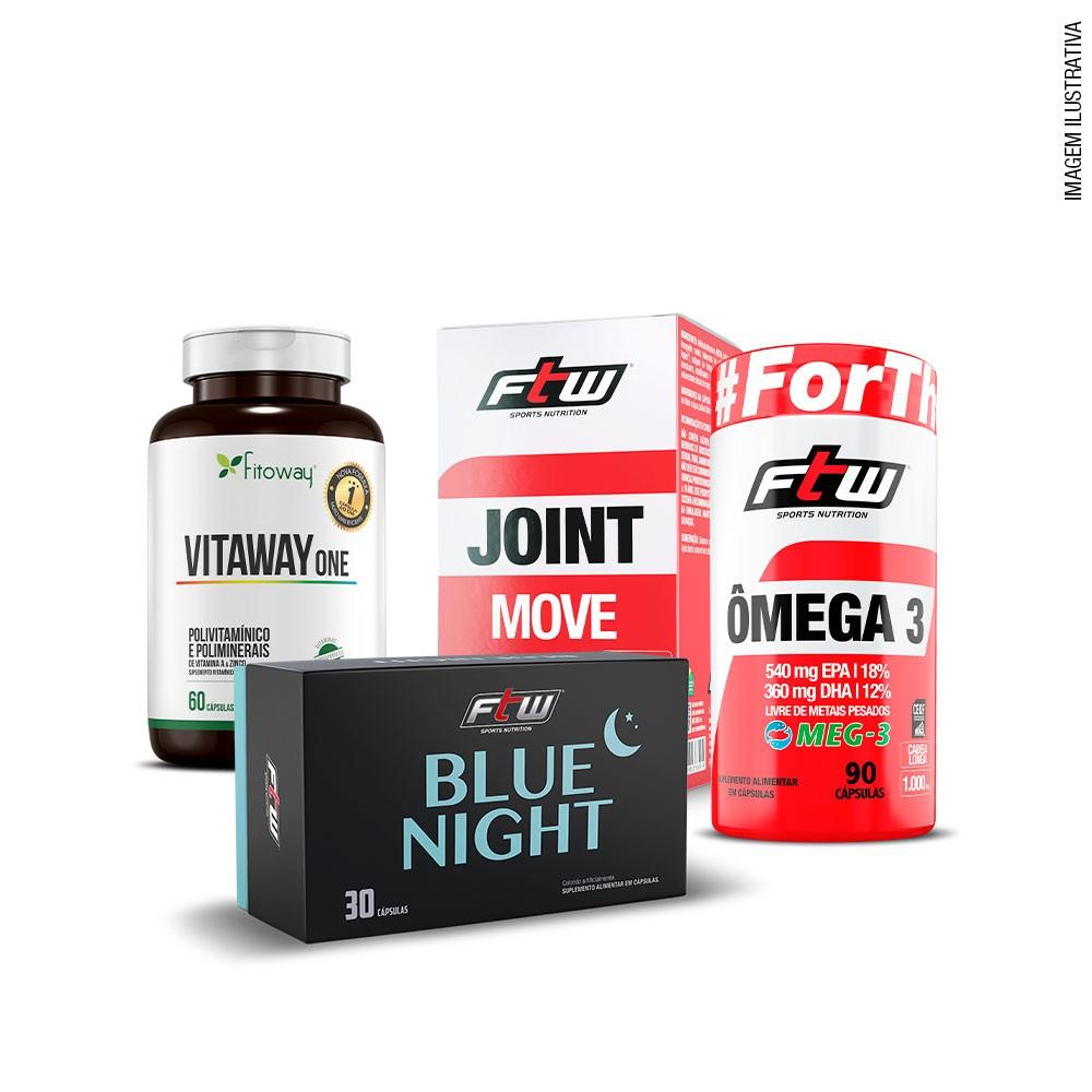 Kit Prevenção e Saúde -  Joint Move + Vitaway One + Ômega 3 Meg-3 + BlueNight FTW + Grátis Porta Cápsulas FTW