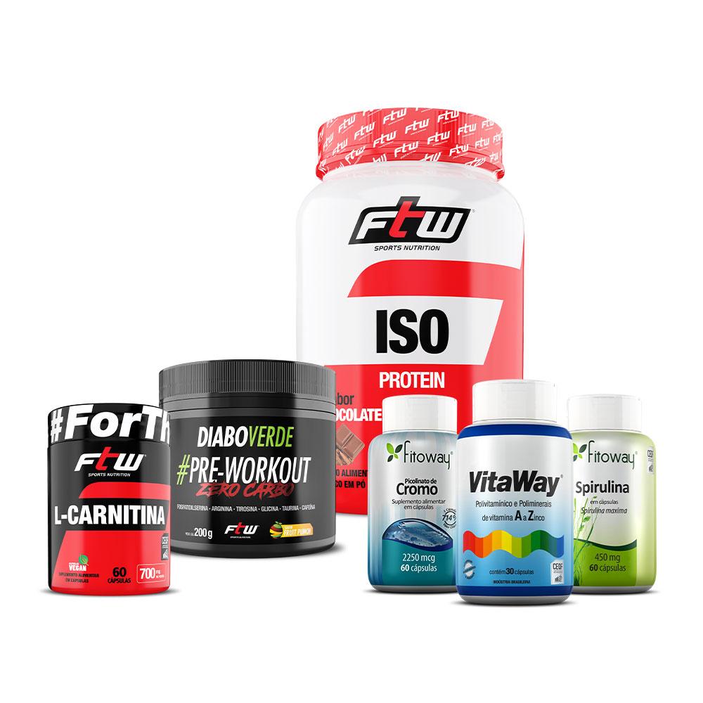 Kit L-Carnitina 60 cáps + Diabo Verde Zero Carbo 200g + Whey ISO 900g + Vitaway 100% IDR 30 cáps + Picolinato de Cromo 60 cáps + Spirulina 60 cáps + Brinde Camiseta FTW