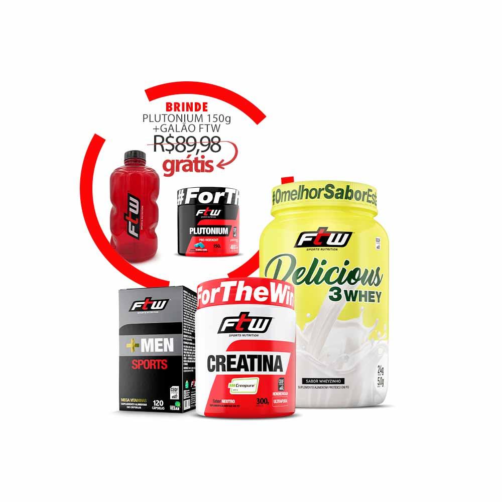 Kit +Men Sports + Delicious 3Whey Sabor Wheyzinho + Creatina Creapure + Brinde Plutonium 150g + Galão FTW