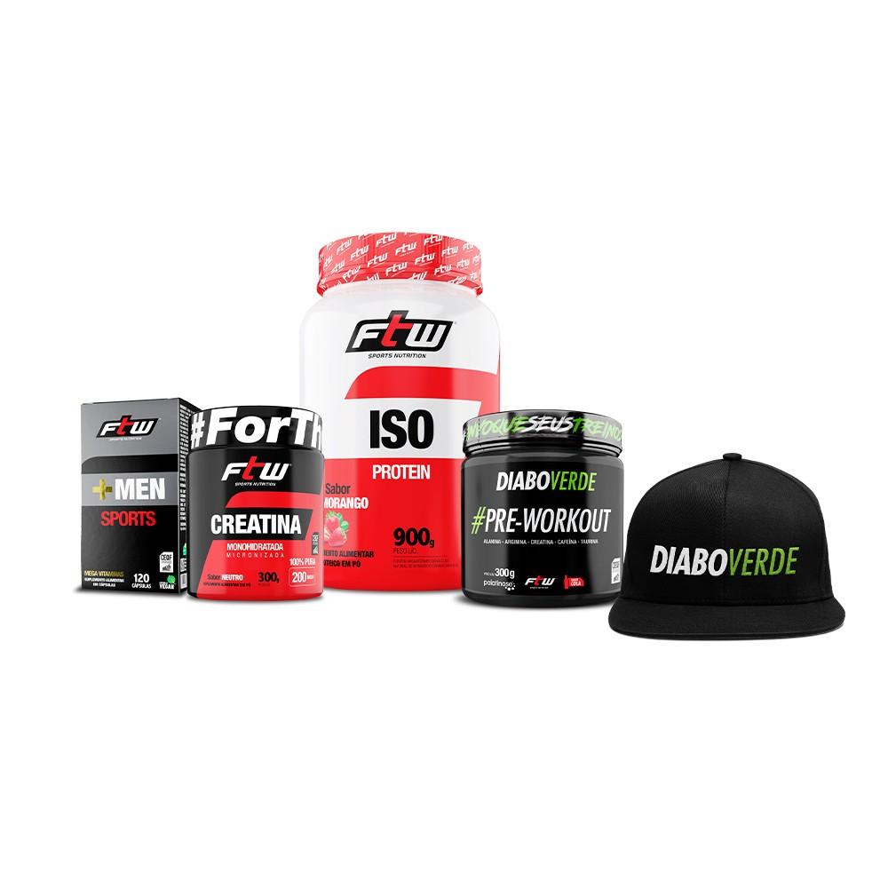Kit + Men Sports + Whey ISO + Creatina 300g + Diabo Verde #Pre-Workout Sabor Cola - FTW