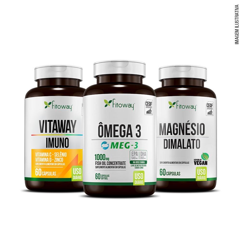 Kit Suplementação em dia - Vitaway Imuno 60 cáps + Ômega 3 Meg-3 60 cáps + Magnésio Dimalato 60 cáps + Grátis Porta Cápsulas Fitoway