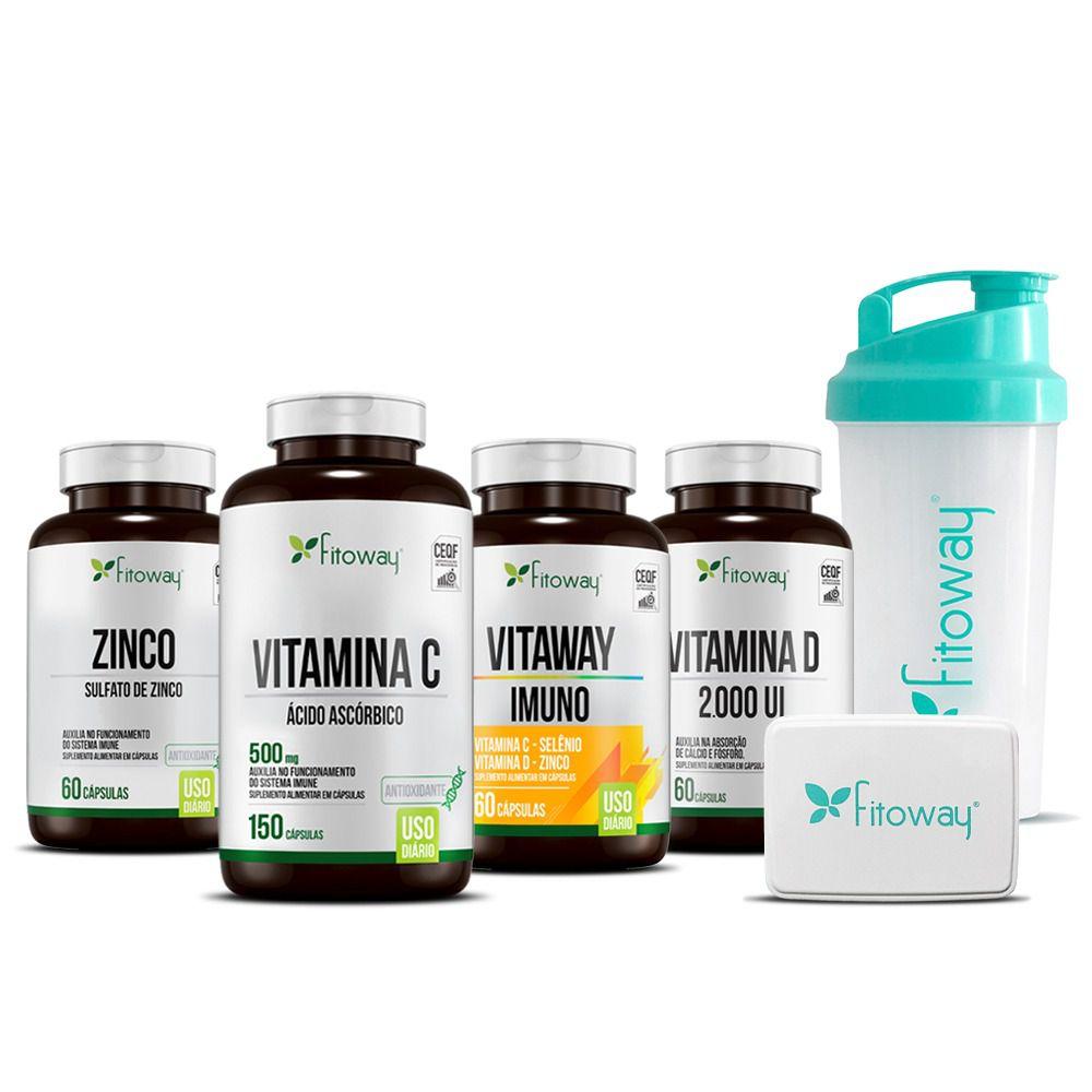 Kit Turbine Sua Imunidade Zinco 60 cáps + Vitamina C 150 cáps + Vitamina D 60 cáps + Vitaway Imuno 60 cáps - Fitoway Clean