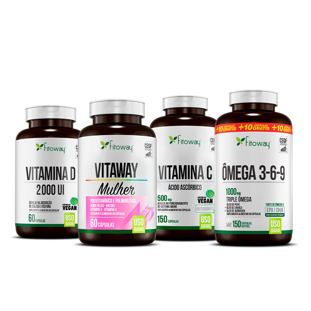 Kit Vitaway Mulher 60 cáps + Vitamina C 150 cáps + Vitamina D 2000 UI 60 cáps + Ômega 3-6-9 150 cáps - Fitoway