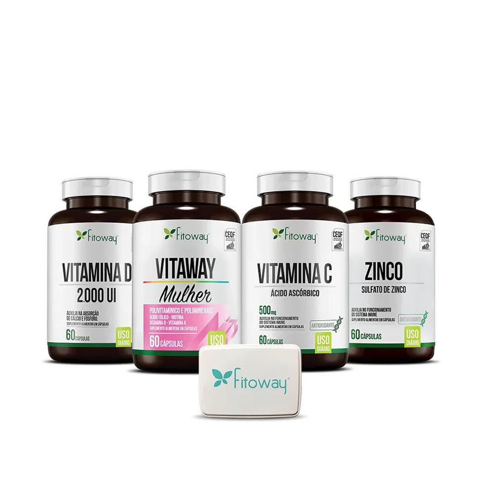 Kit Vitaway Mulher 60 cáps + Vitamina C 60 cáps + Vitamina D 60 cáps + Zinco 60 cáps - Fitoway
