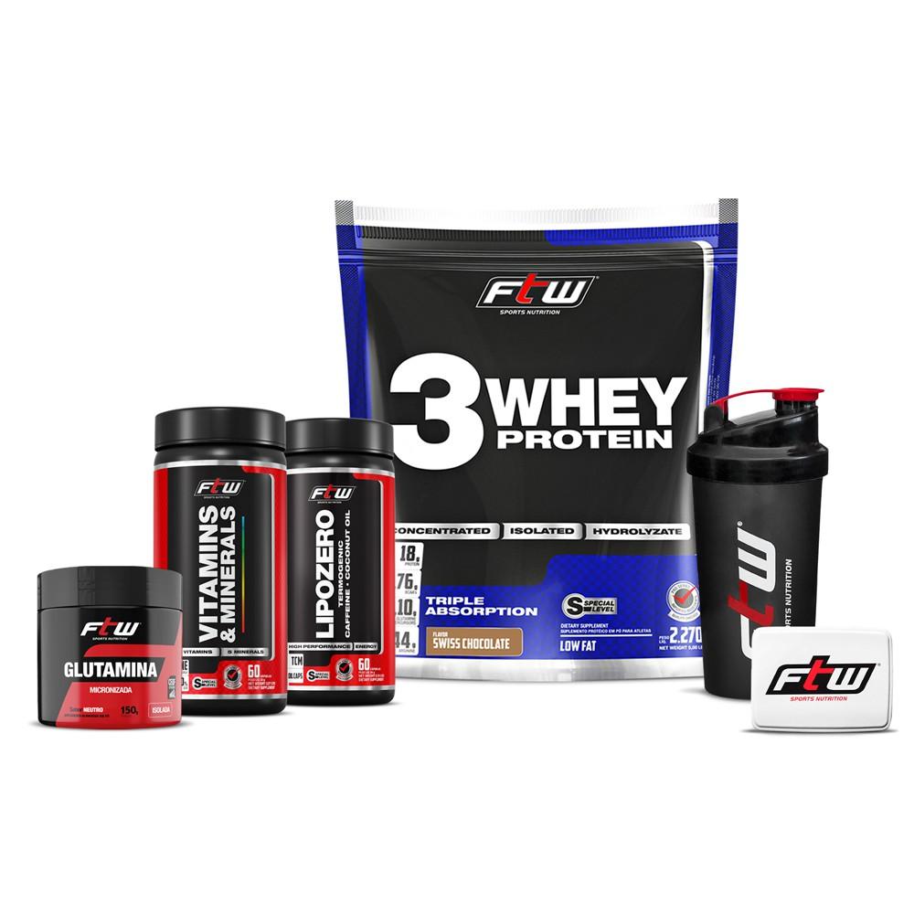 Kit Whey 3w 2,270g + Glutamina 150g + Lipozero 60 cáps + Vitamins E Minerais 60 cáps - FTW