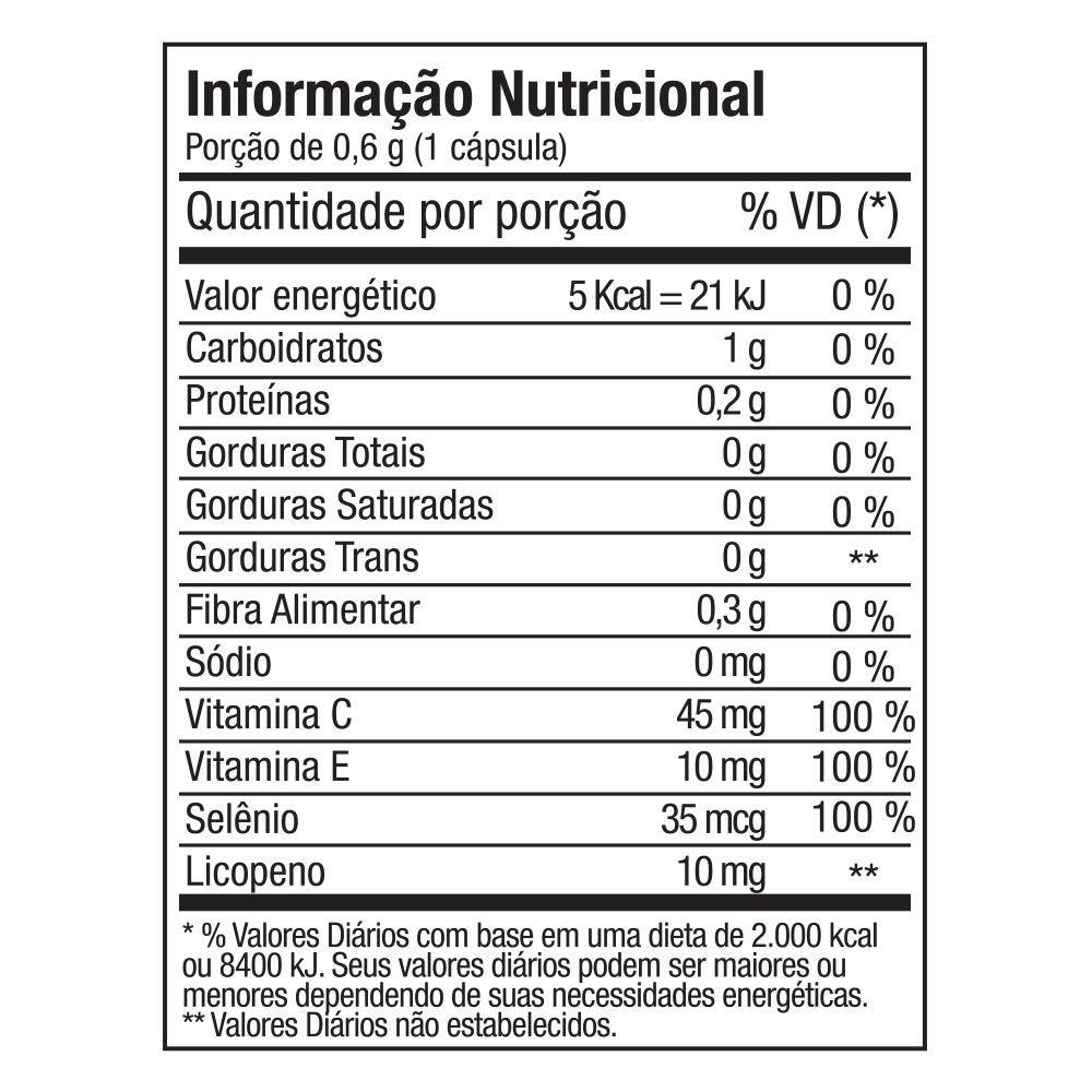 LICOPENO 10mg + SELÊNIO + VITAMINAS A e E FITOWAY - 60 CÁPS