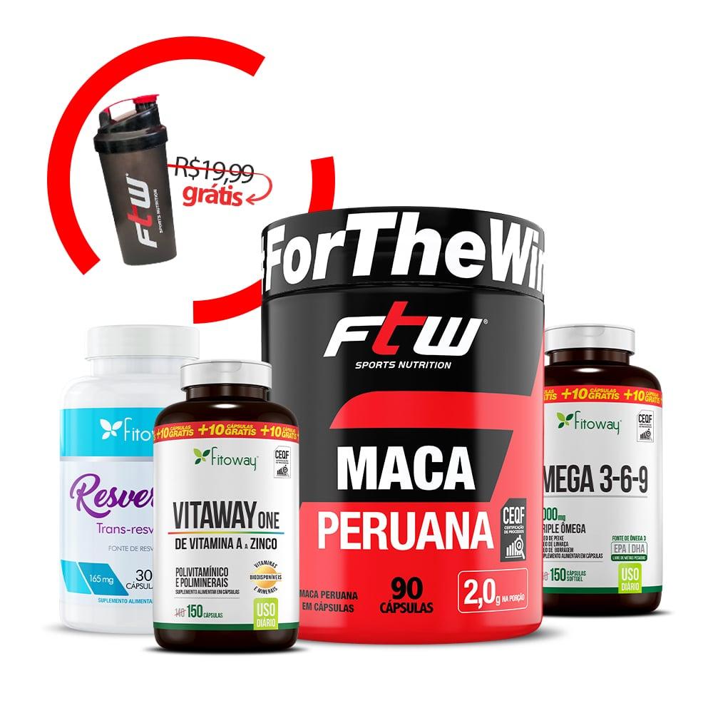 Maca Peruana 90 Cáps + Vitaway One 150 Cáps + Resveratrol 30 Cáps + Ômega 3 150 Cáps  + Brinde Coqueteleira - nn1