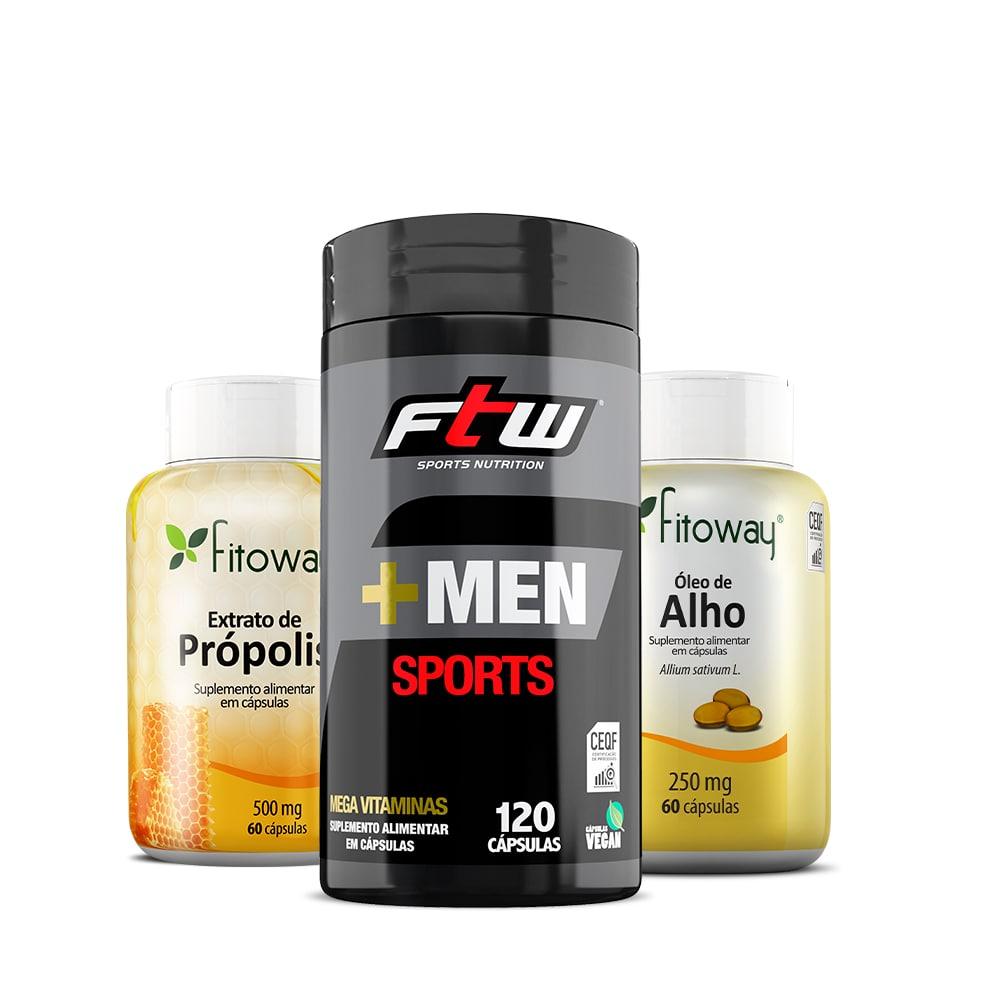 +Men Sports 1202 Cáps + Extrato de Própolis 60 Cáps + Óleo de alho -  ll1