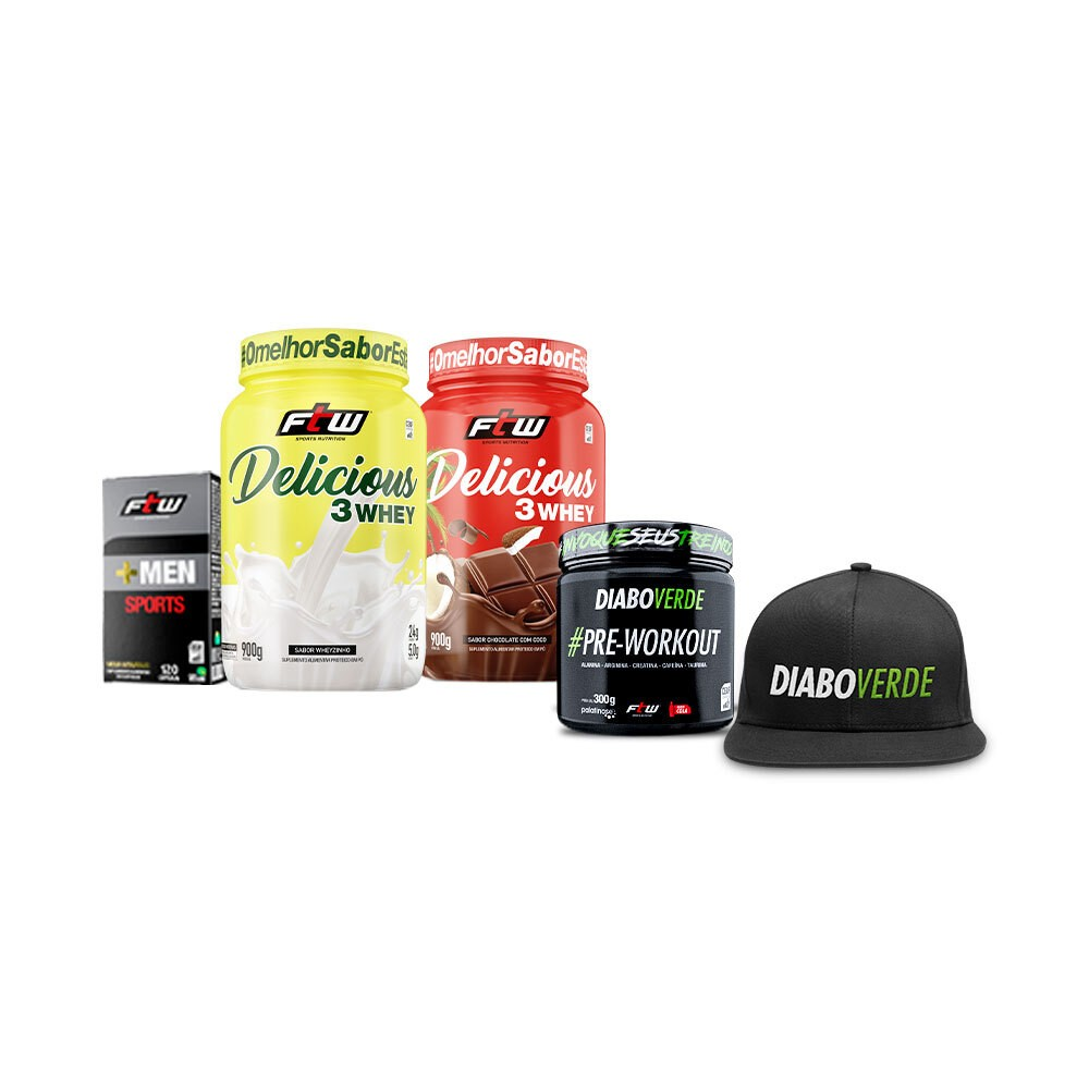 +MEN Sports 120 cáps Lançamento + 2x Deicious Sabor Chocolate com coco e Wheyzinho + Diabo Verde #Pre-Workout Cola + Brinde Boné - FTW