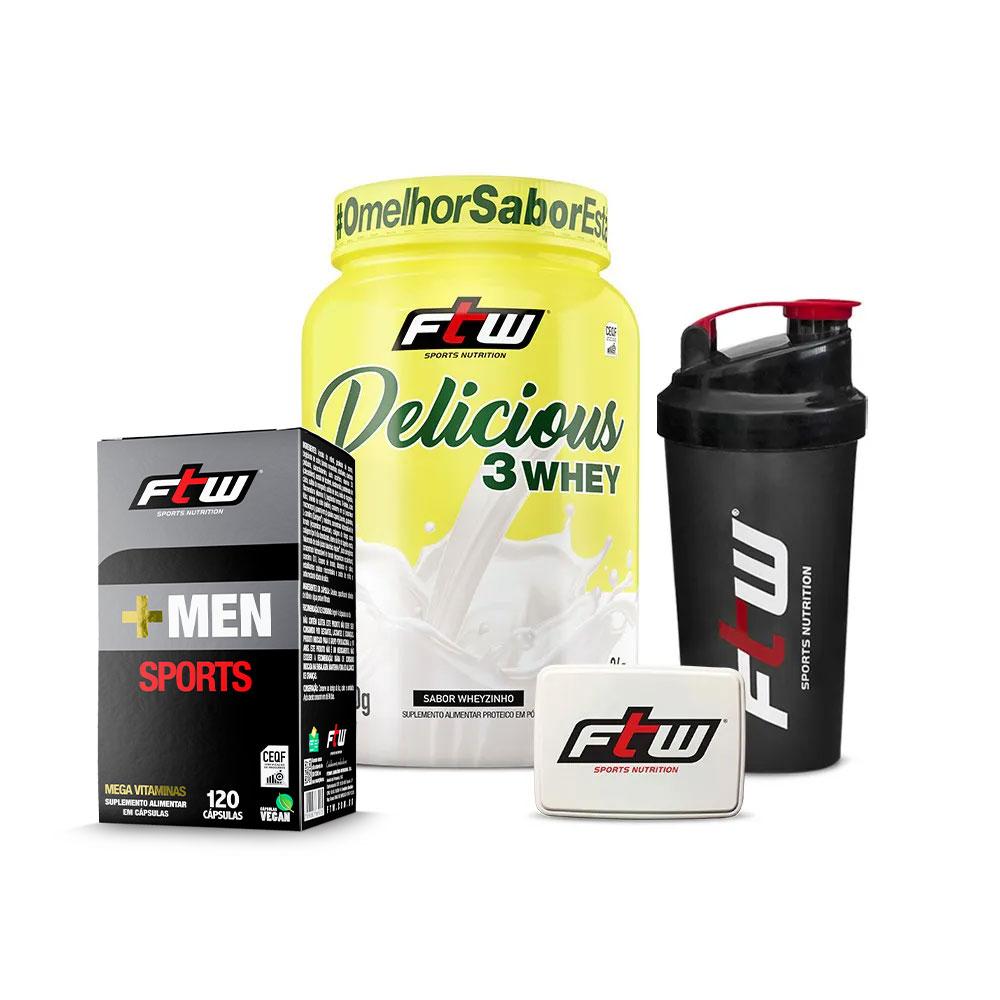 +MEN Sports 120 cáps + Delicious Wheyzinho 900g -Brinde Coqueteleira FTW + Porta Cápsulas FTW