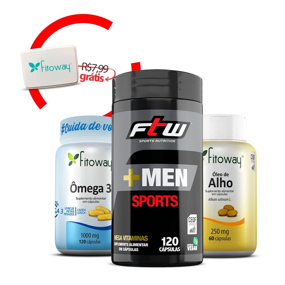 +Men Sports 120 Cáps +  Ômega 3 120 Cáps + Óleo de Alho  60 Cáps + Brinde Porta Cápsulas -  pp1