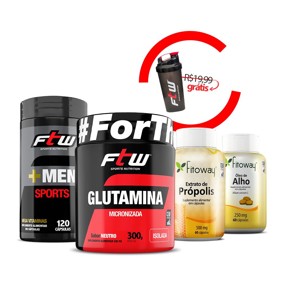 +Men Sports + Glutamina 300g + Óleo de alho + Extrato de Própolis + Brinde Coqueteleira FTW - ee1