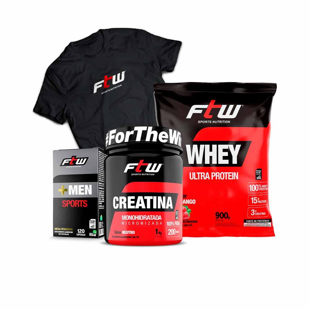 +MEN Sports Nutrition + Whey Ultra Morango 900g + Creatina 1 kg + Brinde Camiseta - FTW
