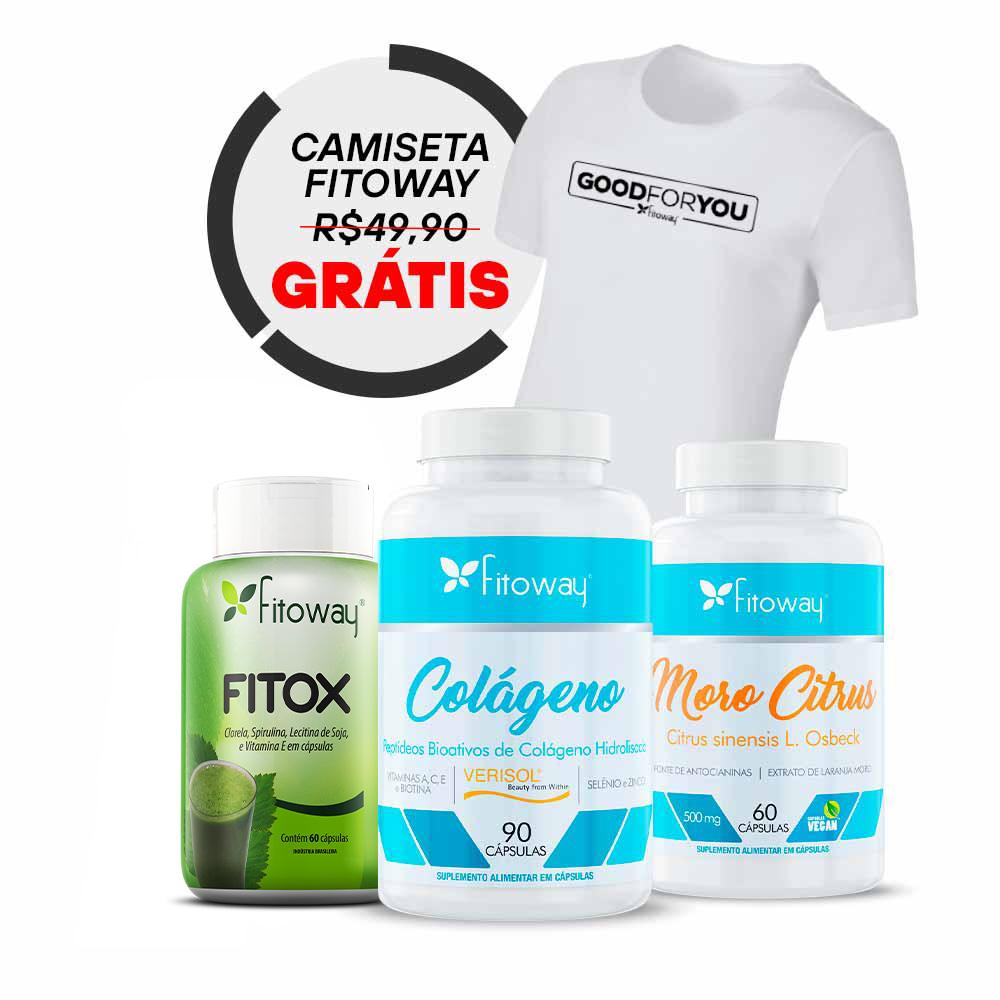 Moro Citrus Fitoway - 60 cáps + Colágeno Verisol 90 cáps + Fitox + Brinde Camiseta Fitoway