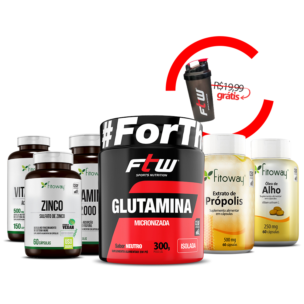 Óleo de alho + Extrato de própolis + Glutamina 300g + Vitamina D + Vitamina C + Zinco + Brinde Coqueteleira - ee1
