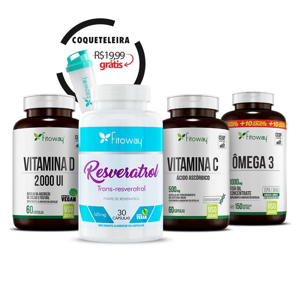 Resveratrol 30 Cáps + Ômega 3 150 Cáps + Vitamina D 100 Cáps + Vitamina C 60 Cáps + Brinde Coqueteleira - ss1