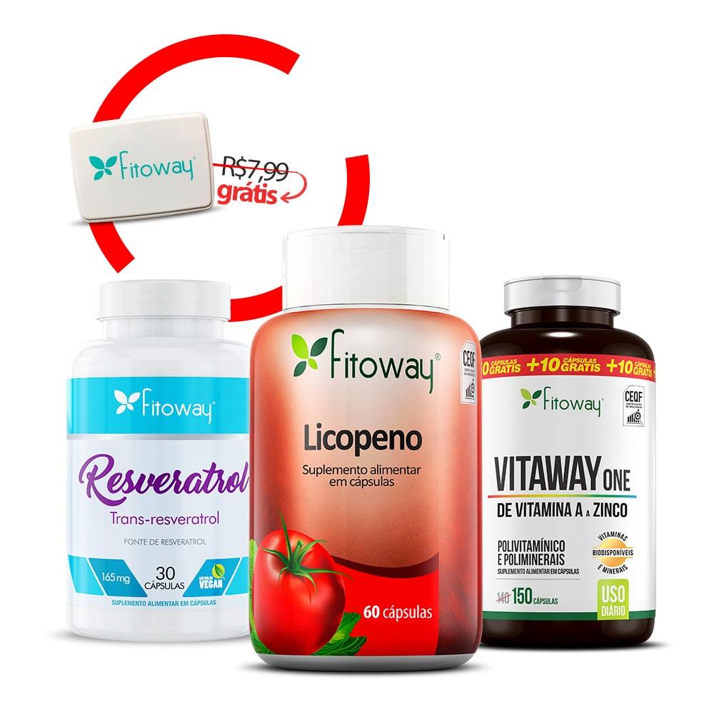 Resveratrol 30 Cáps + Vitaway One 150 Cáps + Licopeno 60 Cáps + Brinde Porta Cápsulas - oo1