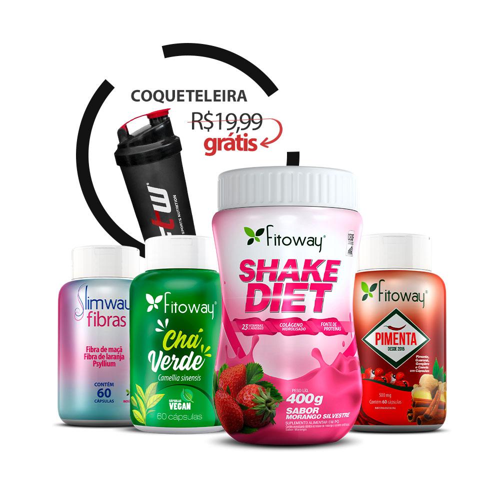 Shake Diet Fitoway + Pimenta + Chá verde 60 cáps + SlimWay Fibras 60 cáps + Brinde Coqueteleira FTW - AA1