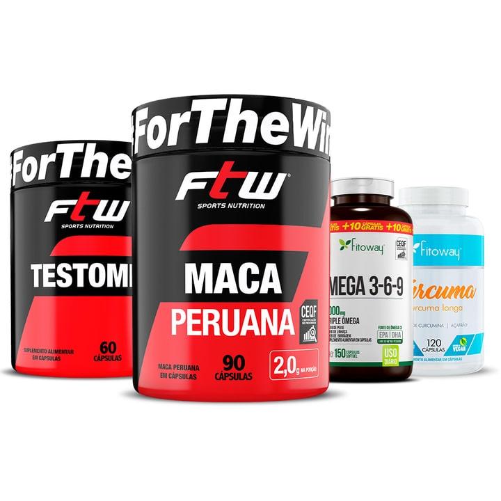 Testomil 60 Cáps + Maca Peruana 90 Cáps + Ômega 3 150 Cáps + Cúrcuma - nn1