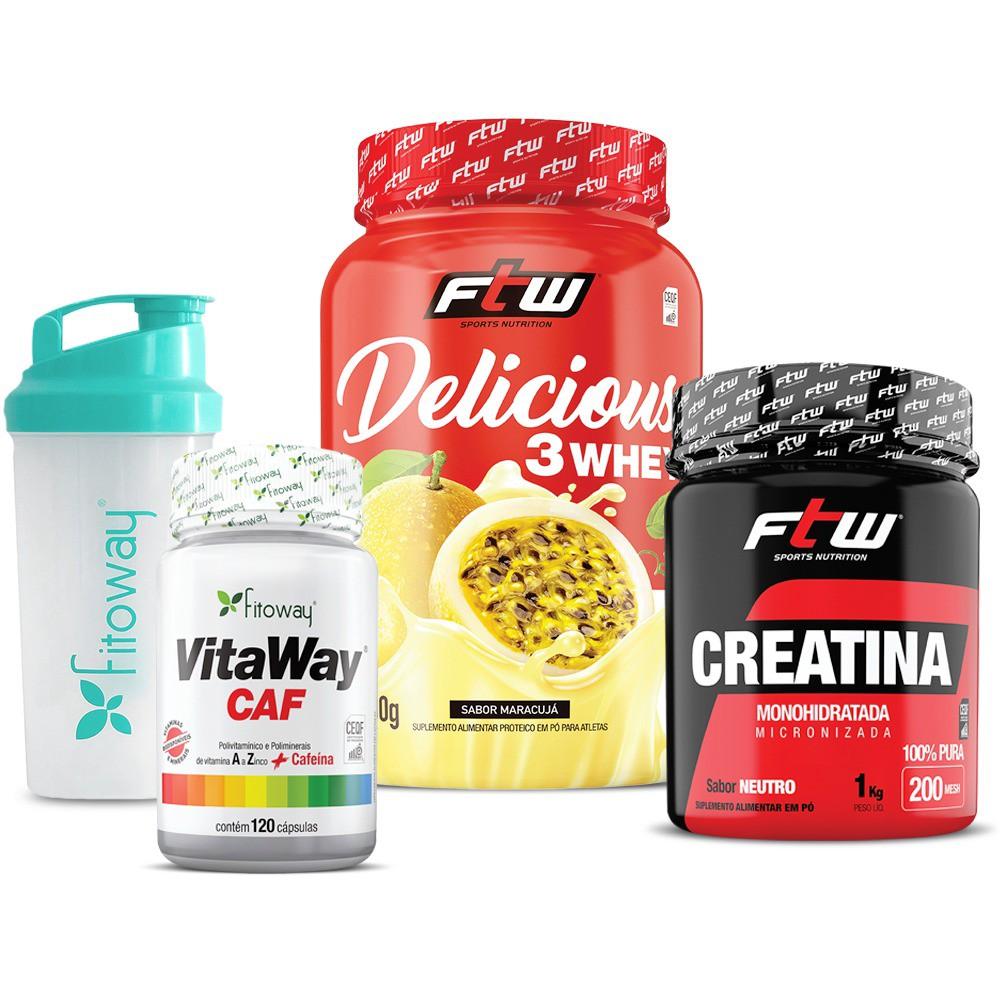 VitaWay CAF 120 cáps + Delicious 3 Whey + Creatina 1kg  FTW + Brinde Coqueteleira Fitoway
