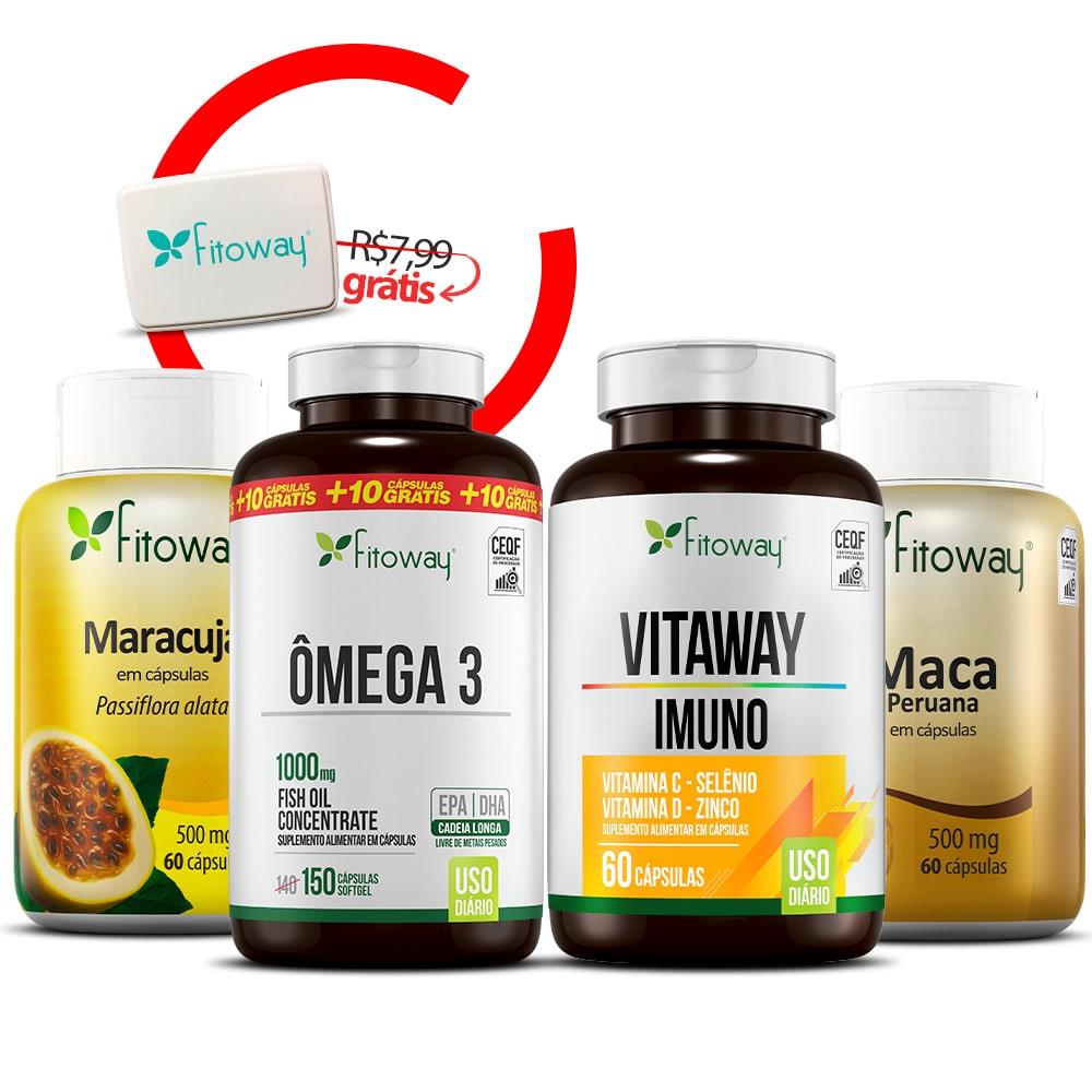Vitaway Imuno 60 Cáps + Maca Peruana 200 Cáps + Ômega 3 Fitoway 150 Cáps + Maracujá 60 Cáps + Brinde Porta Cápsulas-zz1