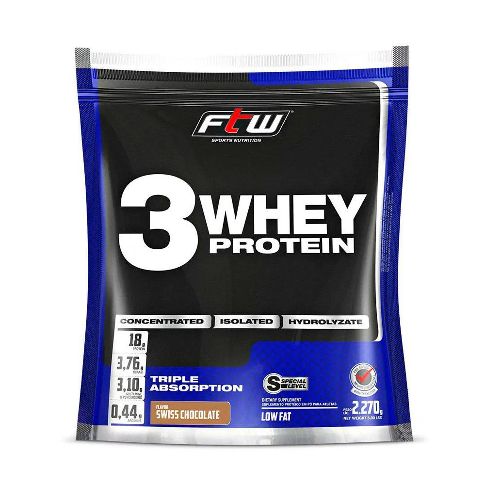 Whey 3W Protein FTW Sabor Chocolate - 2270g + Brinde Coqueteleira