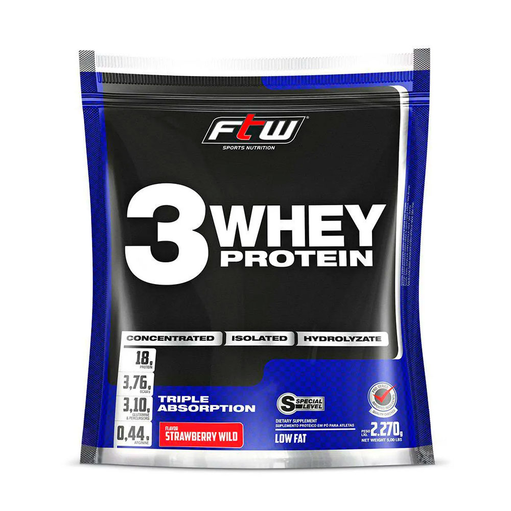 Whey 3W Protein FTW Sabor Morango - 2270g