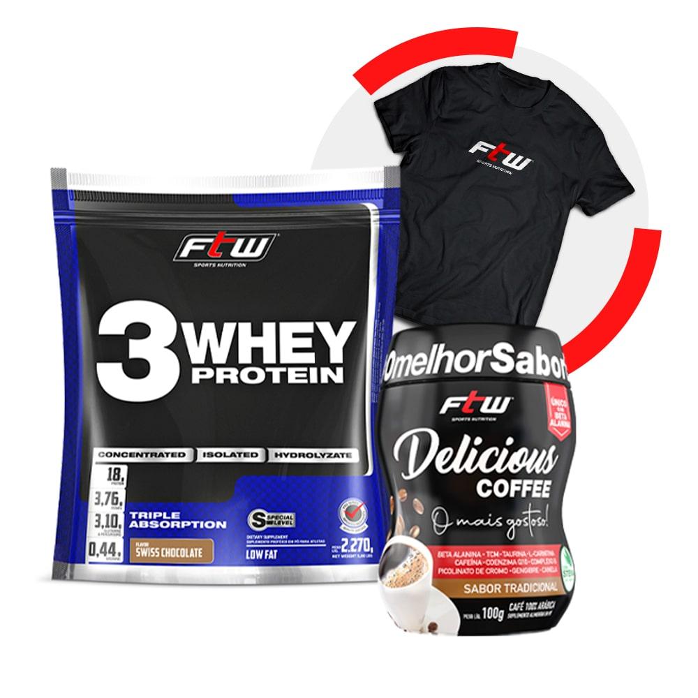Whey 3W Sachê 2,270 kg + Delicious Coffee Tradicional 100g + Brinde Camiseta FTW
