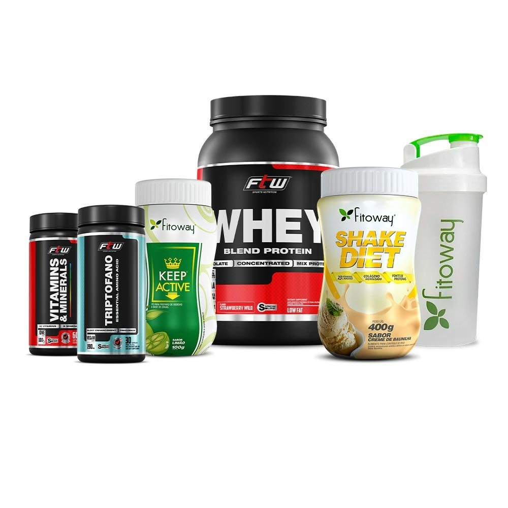 Whey Blend Morango - Keep Active + Shake Diet Baunilha+ Triptofano + Vitamins e Minerals + Coqueteleira FItoway