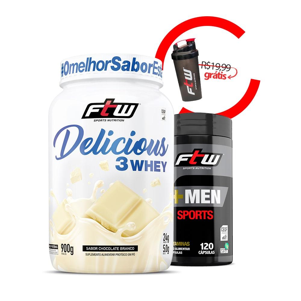 +Woman Sports 1202 Cáps + Delicious 3Whey Sabor Chocolate Branco 900g + Brinde Coqueteleira FTW - kk1