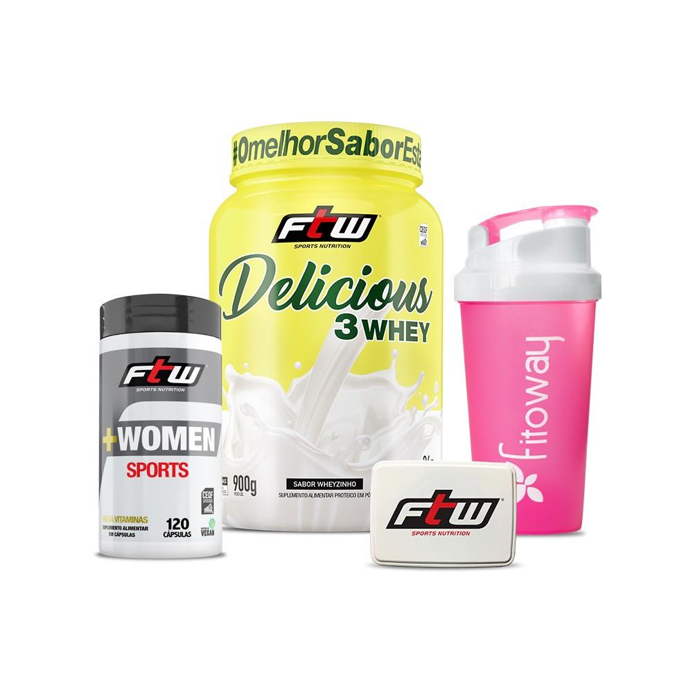 +WOMEN Sports 120 cáps Lançamento + Delicious Wheyzinho 900g + Brinde Coqueteleira Fitoway e Porta cápsulas - FTW