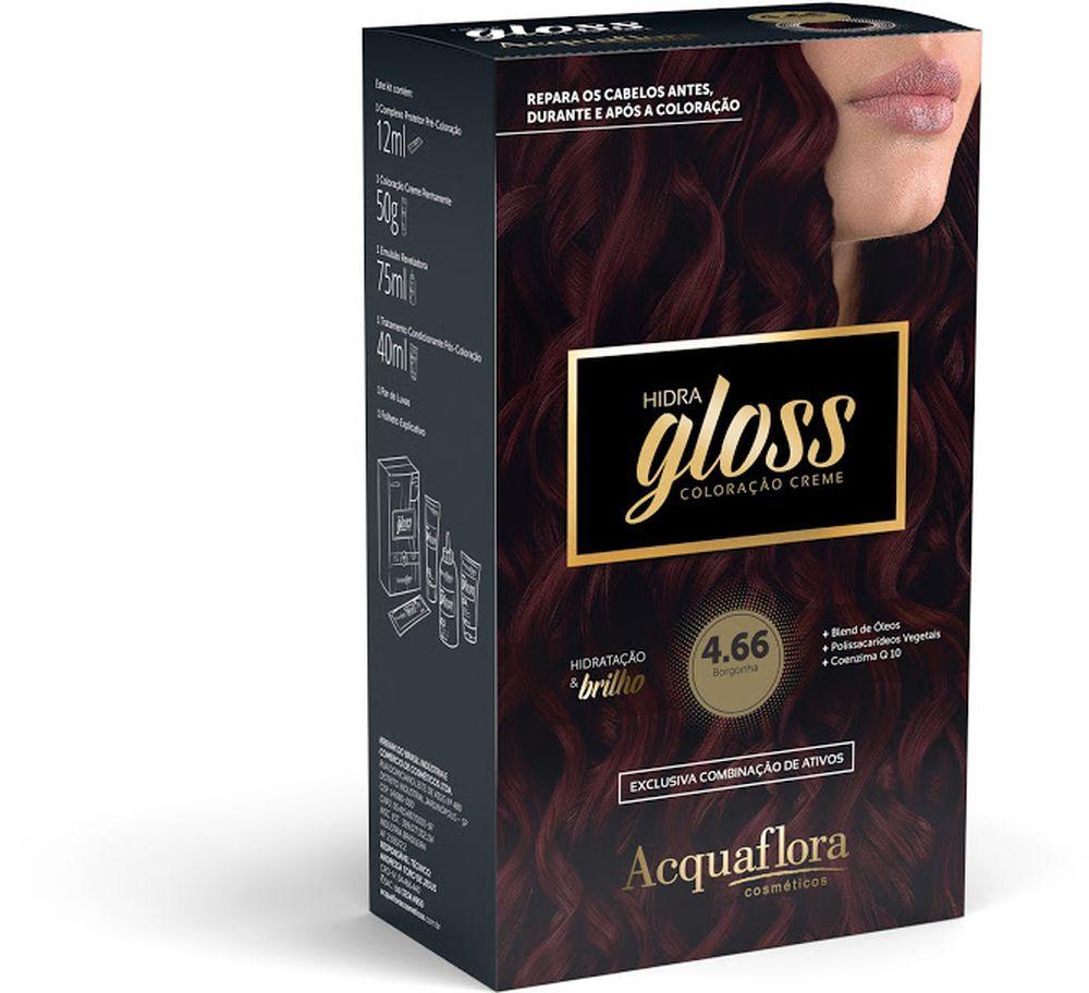 Acquaflora Kit Coloração Hidra Gloss Borgonha 4.66