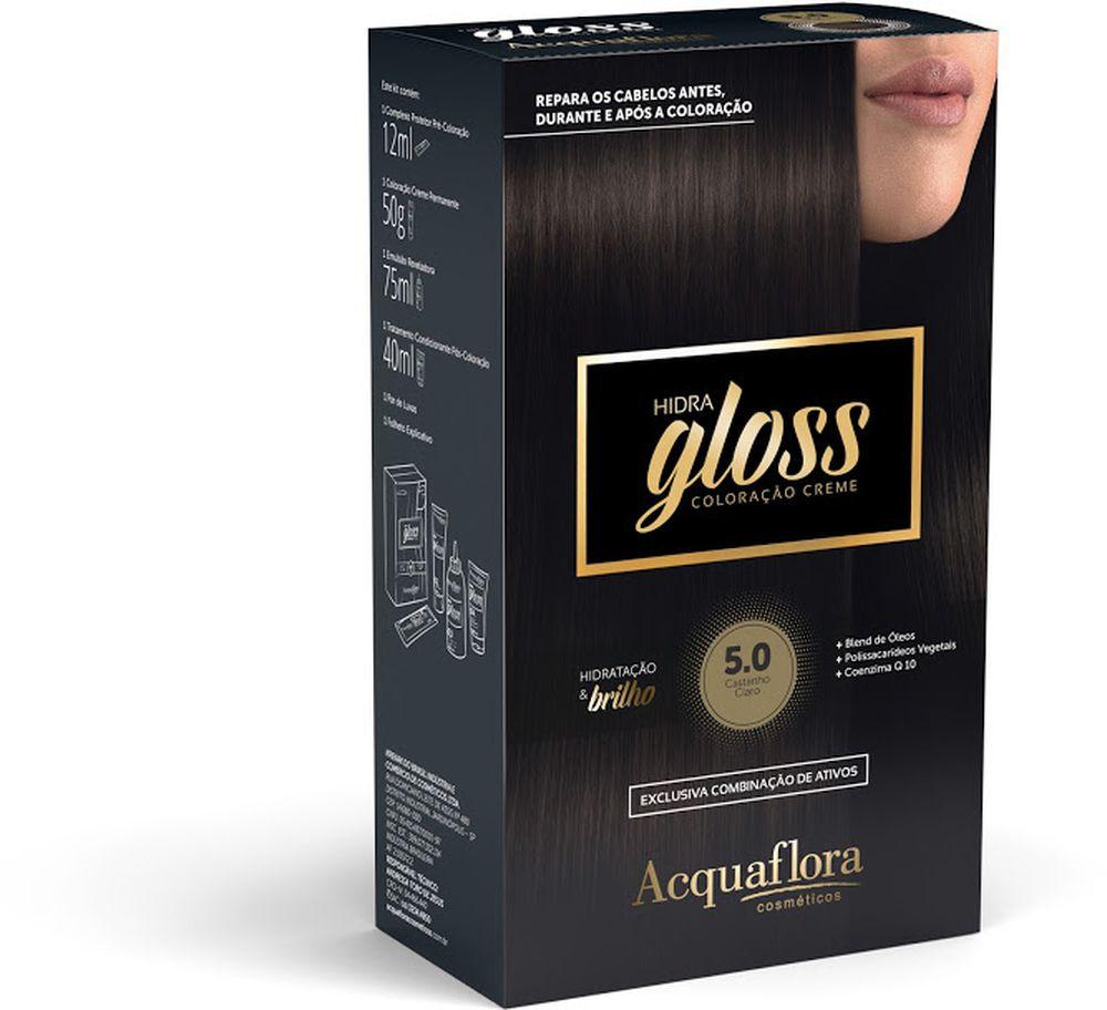 Acquaflora Kit Coloração Hidra Gloss Castanho Claro 5.0