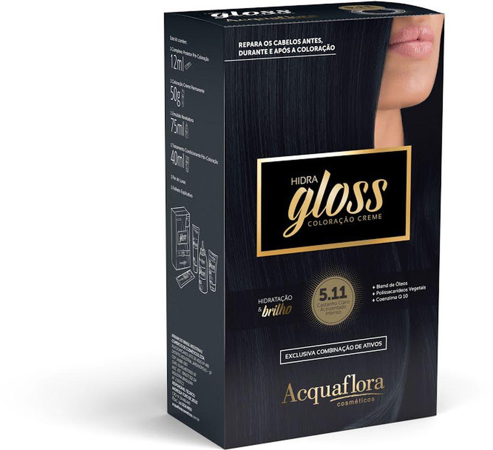 Acquaflora Kit Coloração Hidra Gloss Castanho Claro Acinzentado Intenso 5.11