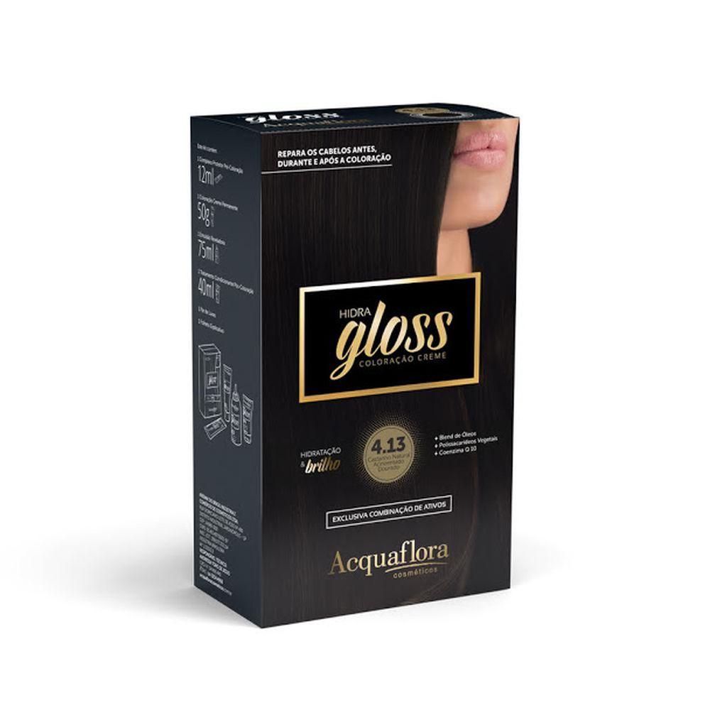 Acquaflora Kit Coloração Hidra Gloss Castanho Natural Acinzentado Dourado 4.13