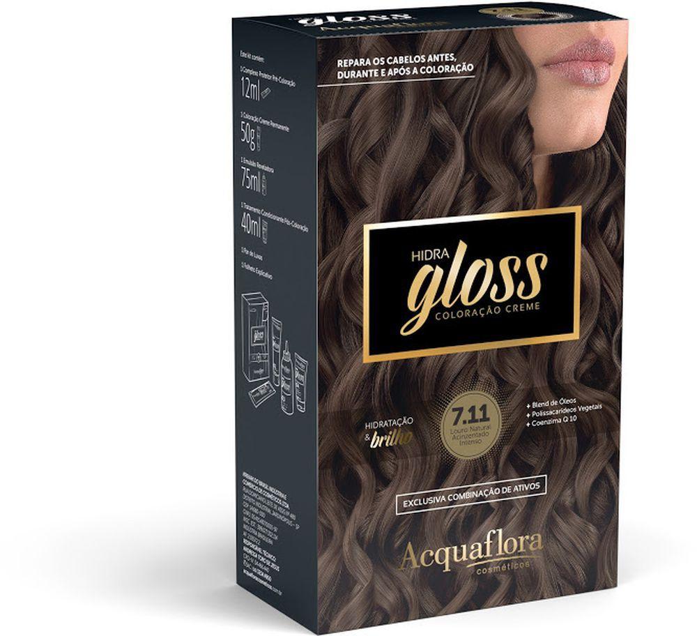 Acquaflora Kit Coloração Hidra Gloss Louro Natural Acinzentado Intenso 7.11