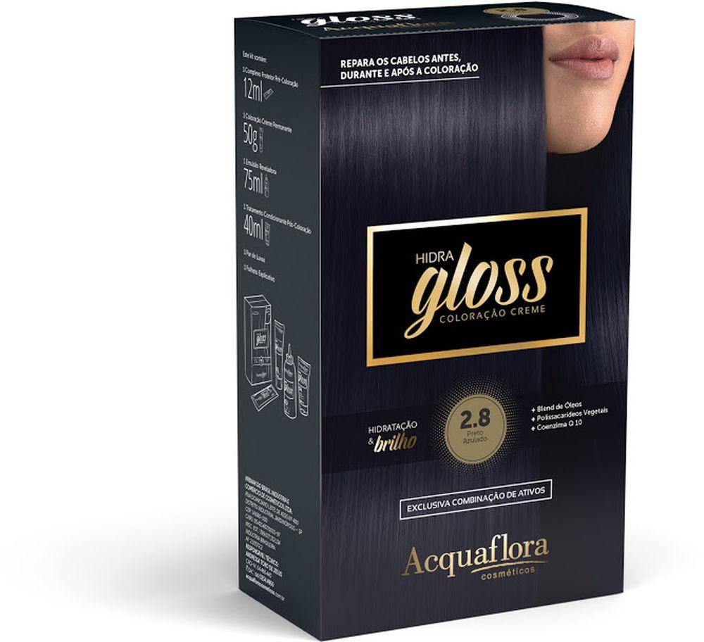 Acquaflora Kit Coloração Hidra Gloss Preto Azulado 2.8