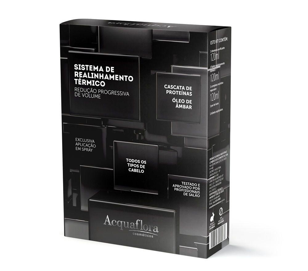 Acquaflora Kit para Progressiva Sistema de Realinhamento Térmico Todos os Tipos de Cabelos