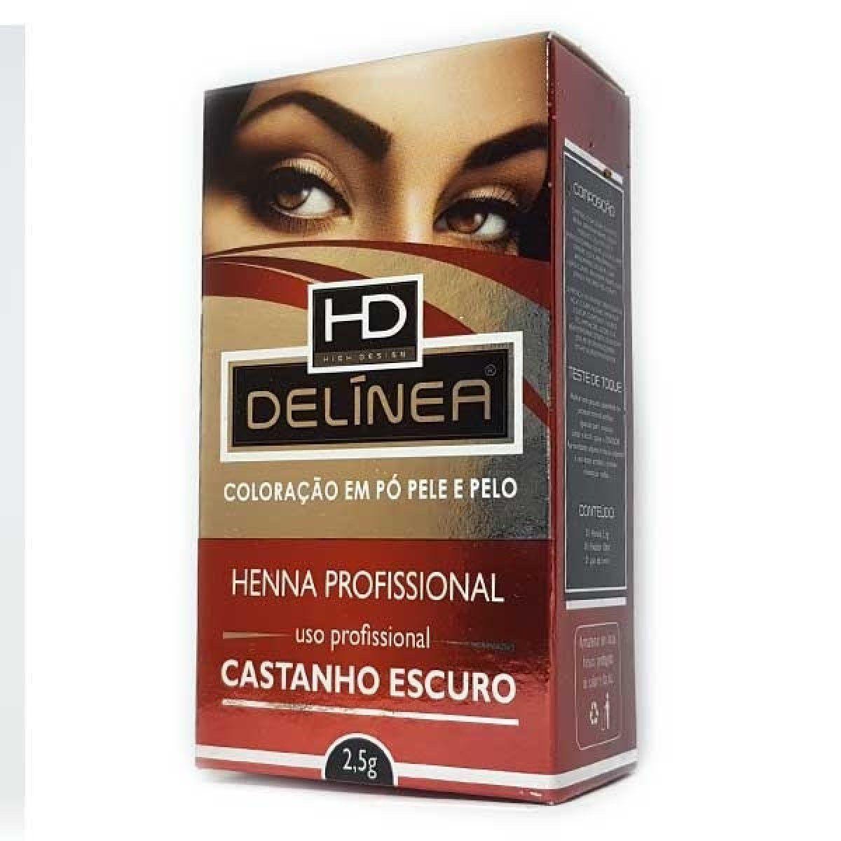 Delínea Henna para Sobrancelha Castanho Escuro 2,5g