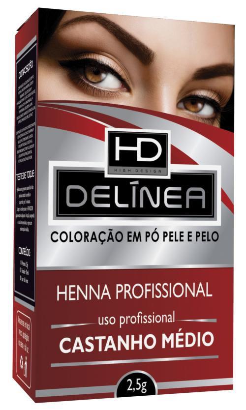 Delínea Henna para Sobrancelha Castanho Médo 2,5g