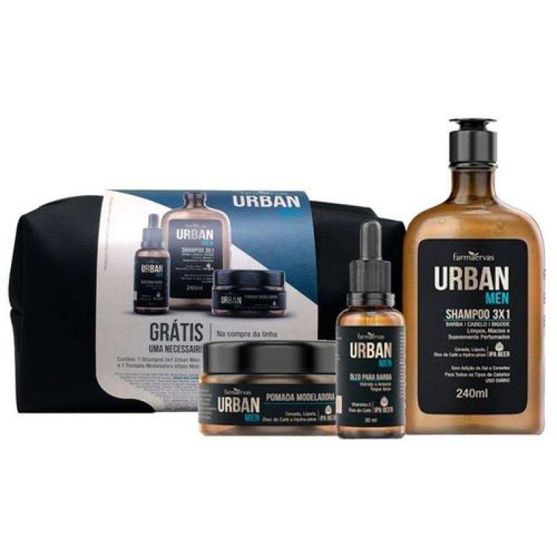 Urban Men Kit Shampooo 240mL + Óleo para Barba 30mL + Pomada + Necessaire