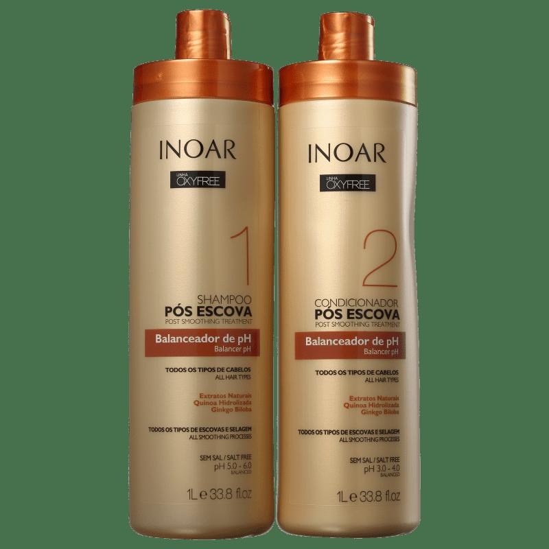 Inoar Kit Shampoo + Condicionador Oxyfree Pós Progressiva PH 1L+1L