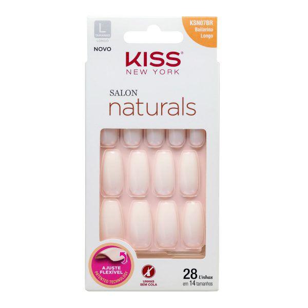 Kiss Unhas Postiças Salon Naturals Bailarina Longo