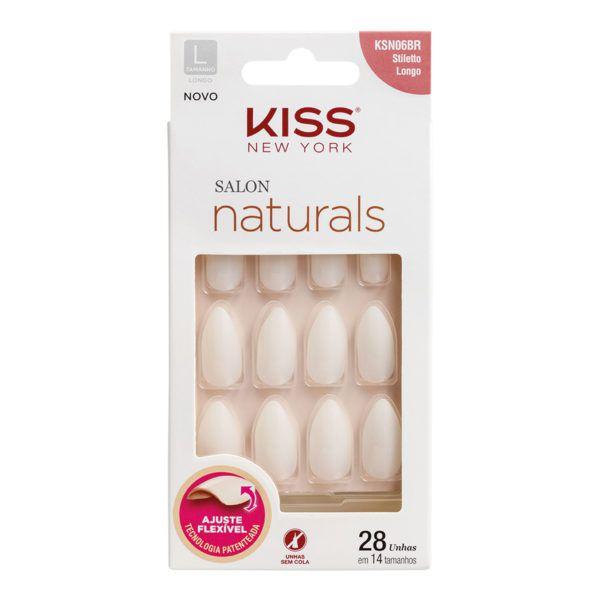 Kiss Unhas Postiças Salon Naturals Estileto Longo