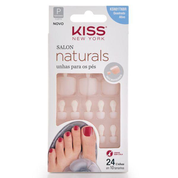 Kiss Unhas Postiças Salon Naturals para Pés Quadrado Ativo