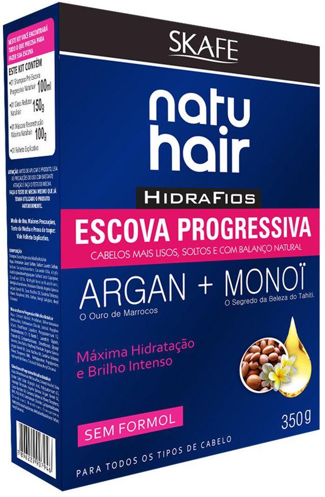 Natu Hair Kit Escova Progressiva Shampoo+Máscara+Gloss Redutor 100mL+100g+150g 350g