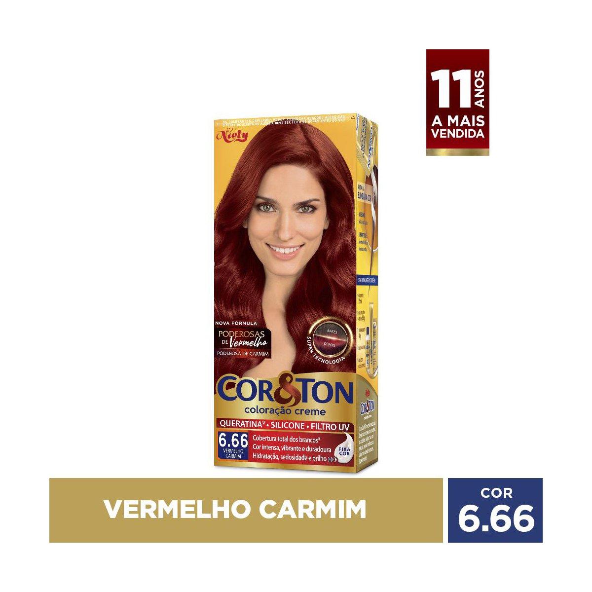 Niely Coloração Cor&Ton 6.66 Louro Escuro Vermelho 180g